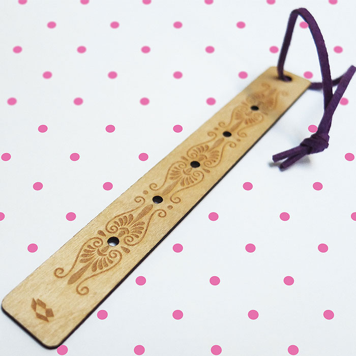 Laser cut wood bookmark
