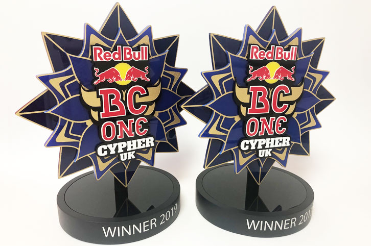 Laser cut, bespoke, acrylic trophies for Redbull. .