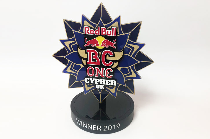Bespoke acrylic trophy for Redbull BC ONe UK