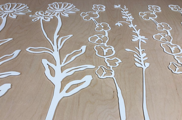 Large painted wood flower props for Daylesford Farm