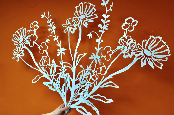 Large painted wood flower props cnc machined for Daylesford Farm