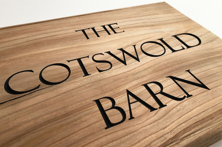 cnc milled elm wood sign