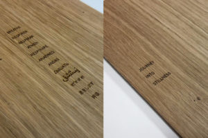 Laser engraved veneer menu covers