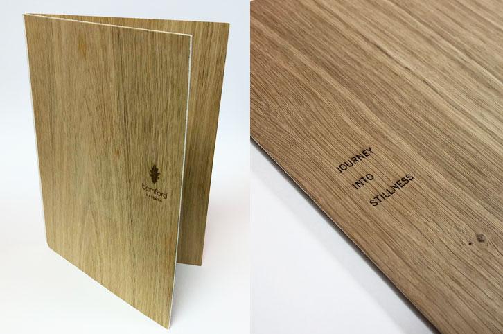 Laser engraved oak veneer menu covers