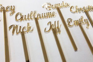 laser cut gold mirror table names