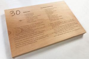 Engraved wood chopping block