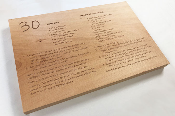 Engraved wood chopping block