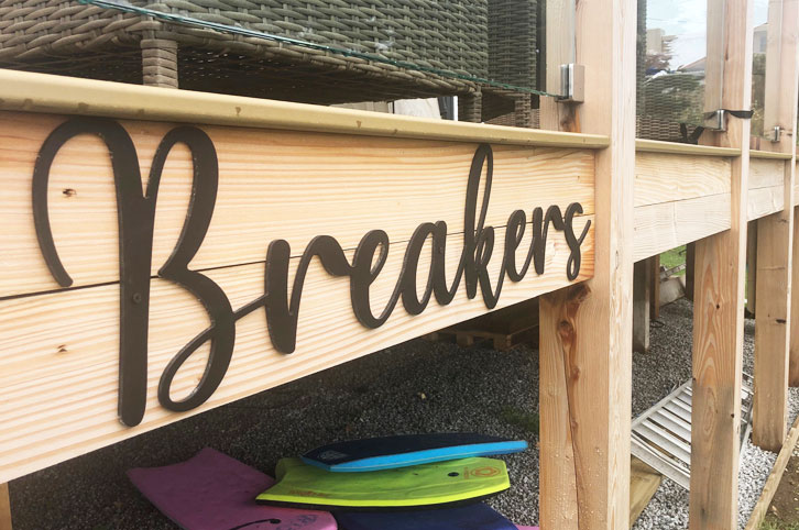 Acrylic lettering for beach house signage