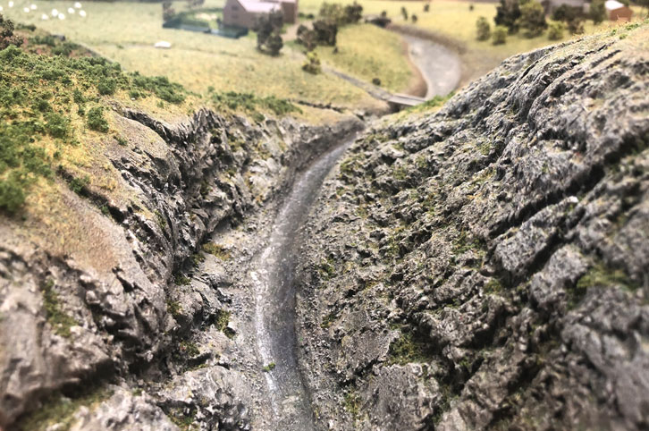 Landscape model of cliff valley