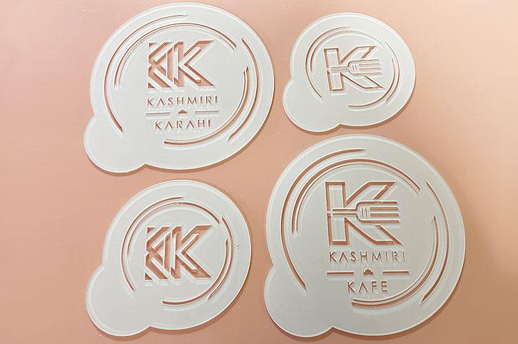Four laser cut acrylic perspex food stencils for Kashmiri Kafe